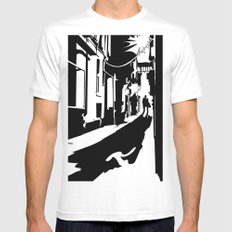 Dark Alley White Mens Fitted Tee MEDIUM