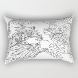Forbidden Love Between the Ocean and Sky- Black & White Illustration Rectangular Pillow