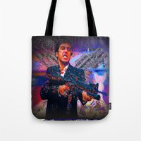 scarface Tote Bags featuring scarface by Vector Art