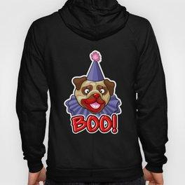 Clown Pug Halloween Joker Makeup Cute Brown Pug Dark Hoody