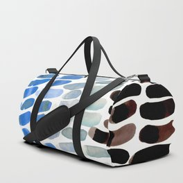 Colorful Watercolor Scales Aquatic Pattern Cold Ice Frozen Blue Greys Duffle Bag