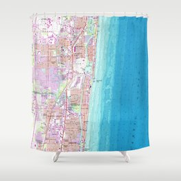 Vintage Map of Boca Raton Florida (1962) Shower Curtain