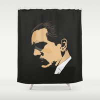 the godfather Shower Curtains featuring Vito Corleone - The Godfather Part II by Tomcert