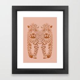 Sunset Blvd Leopard - blush pink and coral original print by Kristen Baker Framed Art Print