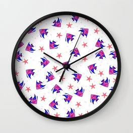 Modern pink blue hand painted watercolor tropical fish pattern Wall Clock
