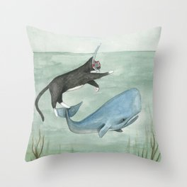 Millie and Her Whale Throw Pillow