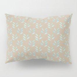 Beige tan and blue watercolor elegant botanical leaves pattern Pillow Sham