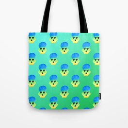 Colorful Skull with Heart Eyes Pattern over Blue Green Gradient Tote Bag
