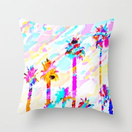 palm tree with colorful painting texture abstract background in pink blue yellow red Throw Pillow