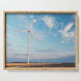 Windmills on the rape field Serving Tray