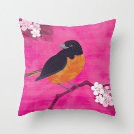 Oriole Bird on Pink Throw Pillow