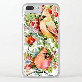 Cardinal Birds and Hawthorn, Cardinal Bird Christmas Design art floral bird decor Clear iPhone Case