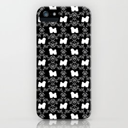 Havanese black and white silhouette dog breed pet art dog pattern iPhone Case