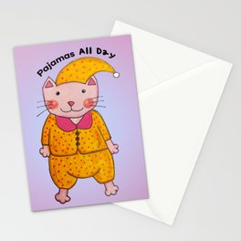 Pajamas All Day Cat Stationery Cards