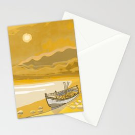 Golden Beach Boat Timeless Stationery Cards