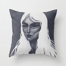 White Haired Throw Pillow