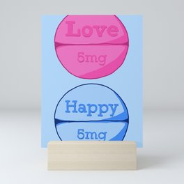 Love Happy Pill Blue Mini Art Print