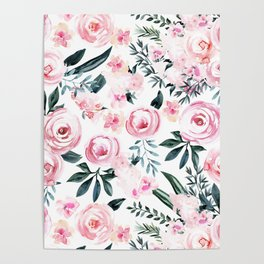 Floral Rose Watercolor Flower Pattern Poster