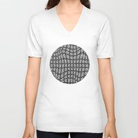 gray pattern V-neck T-shirts featuring Gray Pepples Pattern by Pia Schneider [atelier COLOUR-VISION]