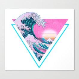 Vaporwave Aesthetic 90's Great Wave Off Kanagawa Canvas Print