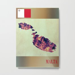 Malta Map with Flag Metal Print
