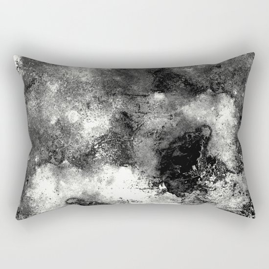 Deja Vu - Black and white, textured painting Rectangular Pillow
