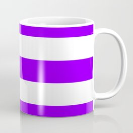 Electric violet - solid color - white stripes pattern Coffee Mug