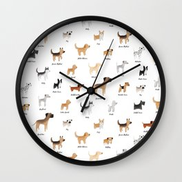 Lots of Cute Doggos - With Names Wall Clock