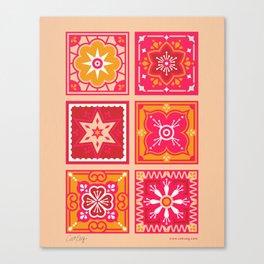 Talavera Mexican Tile – Hot Pink & Orange Palette Canvas Print