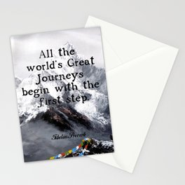 All the world's Great Journeys Motivational Tibetan Proverb With Panoramic View Of Everest Mountain Stationery Cards