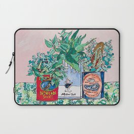 Jungle Botanical in Colorful Cans on Pink - Still Life Laptop Sleeve