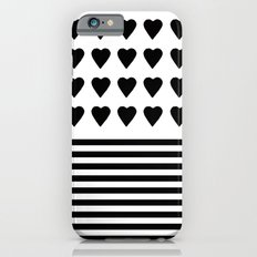Heart Stripes Black on White iPhone 6s Slim Case