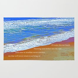 """""""Waves Of Rincon Beach #2"""" with poem: Enduring Ocean Rug"""