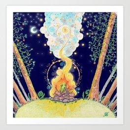Woodland Campfire Art Print
