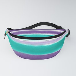 Teal and Purple Watercolor Stripes Fanny Pack