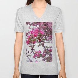 FLOWERING PINK CRABAPPLE TREES SPRING FLORAL Unisex V-Neck