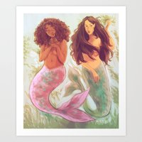 mermaids Art Prints featuring Mermaids by Beverly Johnson