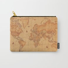 World Map LeaTher Carry-All Pouch