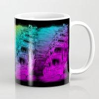 pirate ship Mugs featuring Caleuche Ghost Pirate Ship - Color by Roberto Jaras Lira