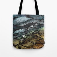 ferris wheel Tote Bags featuring Ferris Wheel by Juliana Caju