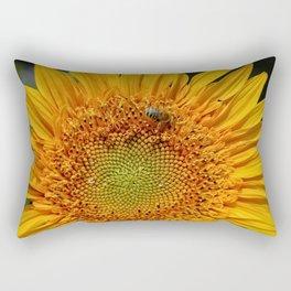 Bee and Dew on Sunflower Rectangular Pillow