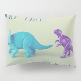 Make Time to Play - Blue and Purple Dino on Green Pillow Sham
