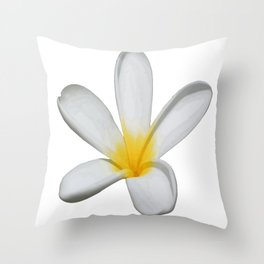 A Single Plumeria Flower Isolated Throw Pillow