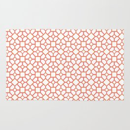 Coral Geometric Pattern, diamonds, circles and squares Rug