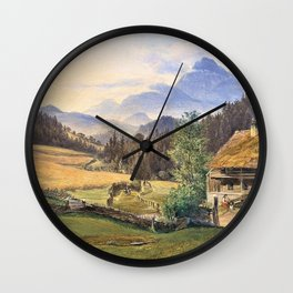 12,000pixel-500dpi - Friedrich Loos - Summer landscape in the mountains - Digital Remastered Edition Wall Clock