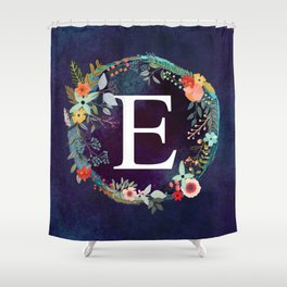 Personalized Monogram Initial Letter E Floral Wreath Artwork Shower Curtain