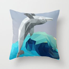 Low Poly Dolphin Wave Throw Pillow