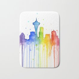 Seattle Skyline Rainbow Watercolor Bath Mat