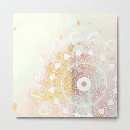 Delicate white mandala on pink Metal Print