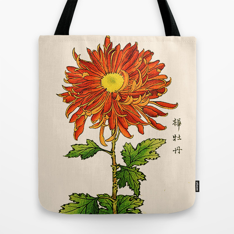 Vintage Japanese Chrysanthemum. Orange And Gold Tote Purse by Mmgladn10 (TBG9899714) photo
